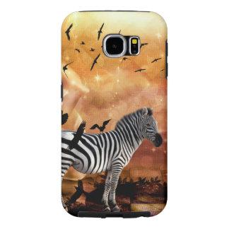 Beautiful zebra with birds samsung galaxy s6 cases
