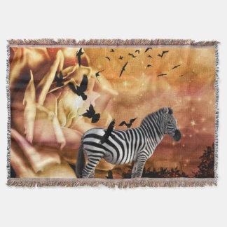 Beautiful zebra with birds throw blanket