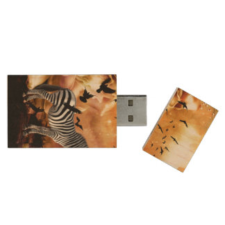 Beautiful zebra with birds wood USB flash drive