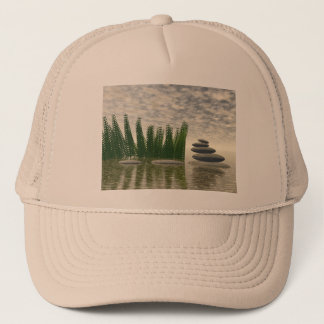 Beautiful zen landscape in the middle of aquatic trucker hat