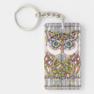 BEAUTIFULL BLUE EYED OWL. KEY RING