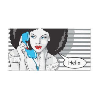 beautifull girl callling, hello, POP art Canvas Prints