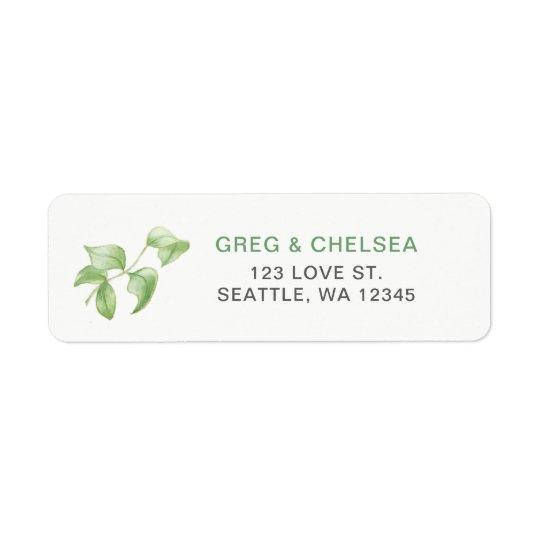 Beautifully botanical greenery wedding return address label