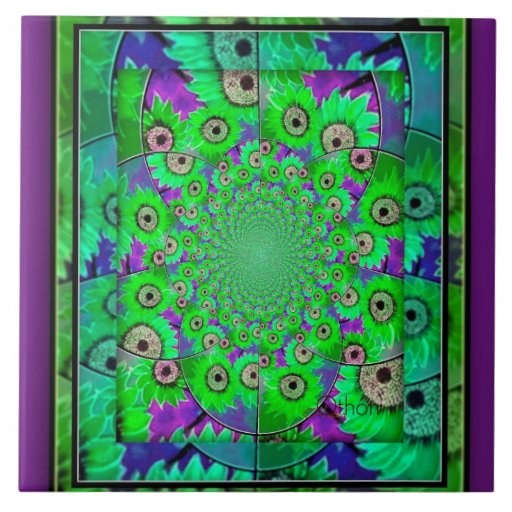 Beautiul Blue Green Purple Wall Tile Zazzle