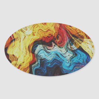 Beauty Abstract Oval Sticker