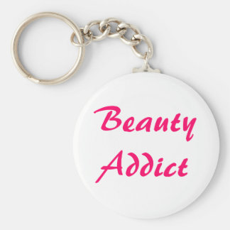 Beauty Addict Basic Round Button Key Ring