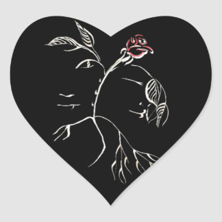 Beauty and Beast Rose Heart Sticker