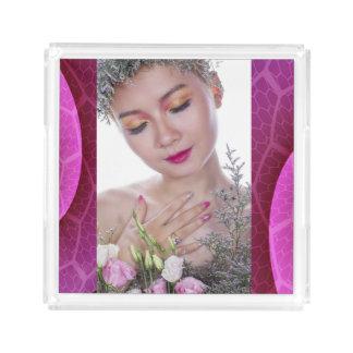 Beauty and Flowers Decorative Fuchsia Tray