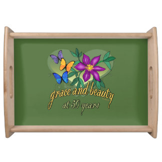 Beauty and Grace 50th Birthday Serving Tray