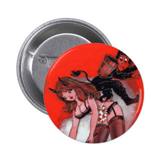 Beauty and Krampus Vintage Christmas Button