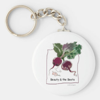 Beauty and the Beets Basic Round Button Key Ring