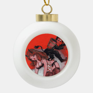 Beauty and the Krampus Vintage Christmas Ornament