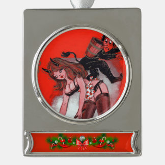 Beauty and the Krampus Vintage Xmas Christmas Silver Plated Banner Ornament