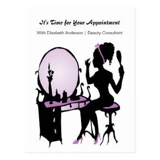 Beauty Appointment Reminder Purple Vintage Girl Postcard