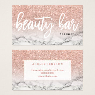 Beauty bar typography rose gold glitter marble business card