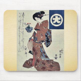 Beauty carrying morning glory by Utagawa,Kuniyasu Mousepads