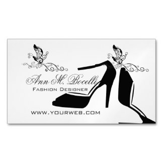 Beauty Fashion  Modern Shoe Butterfly Chic Couture Magnetic Business Cards