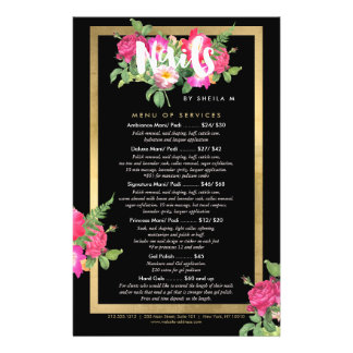 Beauty Florals Nail Salon Price List Service Menu