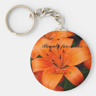 Beauty for Ashes Basic Round Button Key Ring