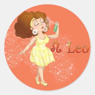 Beauty horoscope Leo Zodiac sign Classic Round Sticker