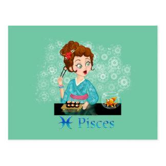 Beauty horoscope Pisces Zodiac sign Postcard