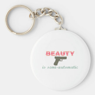 Beauty is semi-automatic basic round button key ring