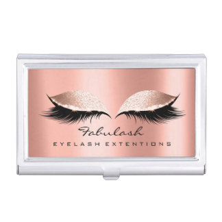 Beauty Lashes Makeup Artist Gold Pink Rose Coral Business Card Holder