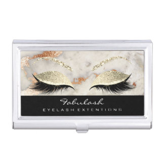 Beauty Lashes Makeup Gold Black Gray Marble Copper Business Card Holder