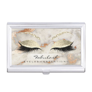 Beauty Lashes Makeup Gold Faux Gray Marble Copper Business Card Holder