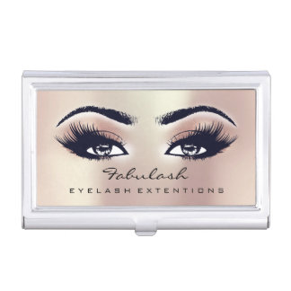 Beauty Lashes Makeup Pink Rose Blush Microblading Business Card Holder