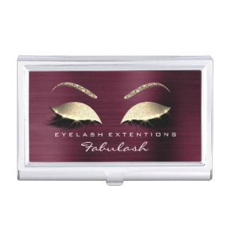 Beauty Lashes Makeup Stylist Burgundy Gold Crystal Business Card Holder