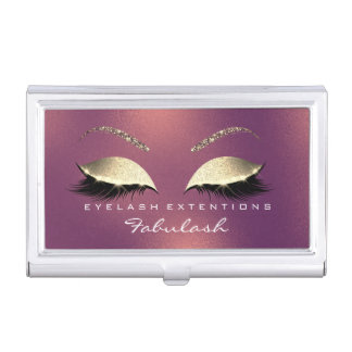 Beauty Lashes Makeup Stylist Copper Rose Gold Business Card Holder
