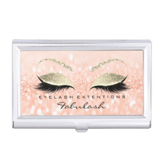 Beauty Lashes Makeup Stylist Gold Coral Glitter Business Card Holder