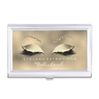 Beauty Lashes Makeup Stylist Gold Glass Glam White Business Card Holder