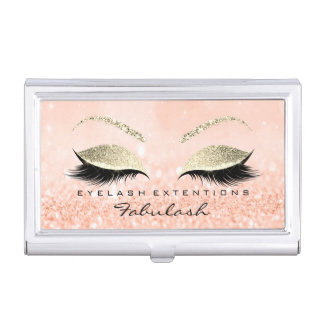 Beauty Lashes Makeup Stylist Gold  Peach Glitter Business Card Holder
