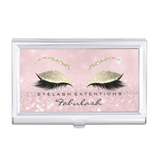 Beauty Lashes Makeup Stylist Gold  Pink Glitter Business Card Holder