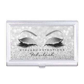 Beauty Lashes Makeup Stylist Silver Gray Glitter Business Card Holder