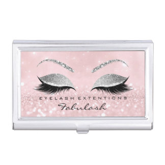 Beauty Lashes Makeup Stylist Silver Pink Glitter Business Card Holder