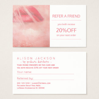 Beauty lips products distributor referral template business card