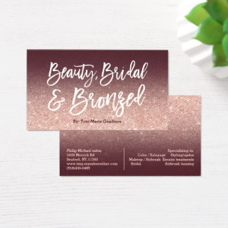 Beauty logo chic typography burgundy rose gold business card