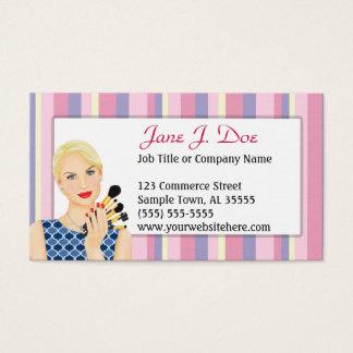 Beauty Makeup Artist Pink Stripe, Blonde Business Card