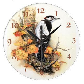 Beauty of Autumn Bird Large Clock