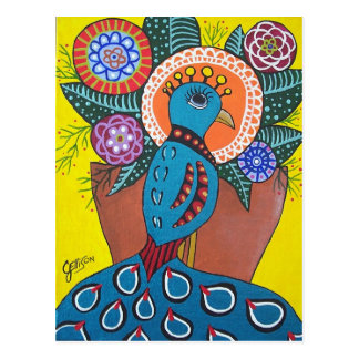 Beauty of Difference Folk Art Peacock Postcard