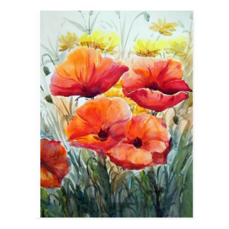 BEAUTY OF FLOWER POPPIES , WATERCOLOR PAINTING POSTCARD