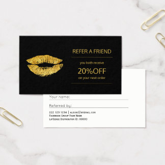 Beauty products distributor gold lips referral business card