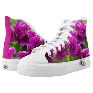 Beauty purple flowers printed shoes
