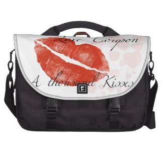 Beauty red lipstick with hotgirl laptop bag