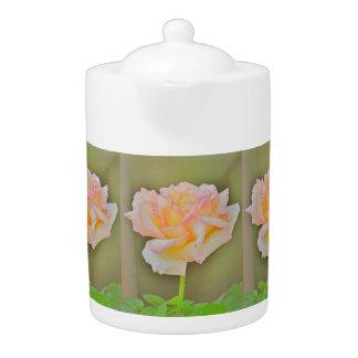 """Beauty Rose"" In Metal Tea Pot"
