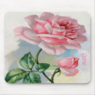 Beauty Rose Pink, Gray Mouse Pad Standard