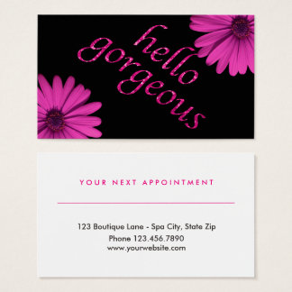 Beauty Salon Appointment Daisy   Hello Gorgeous Business Card